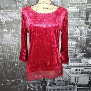 NY Collection Crushed Velvet Top